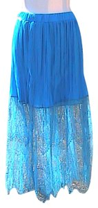 Other Lace Chiffon Maxi Skirt Blue