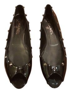 Chanel Patent Leather Peep Toe Black Flats