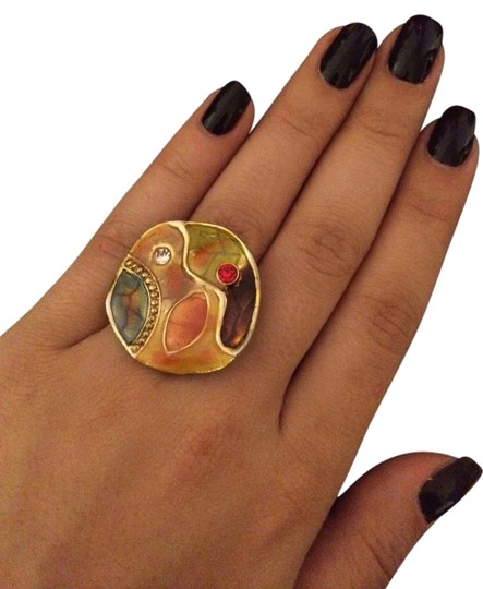 Other Adjustable Gold Multicolor Ring With Stone
