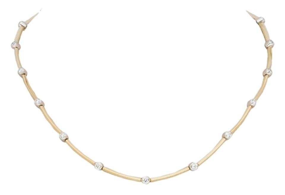 frontview diamond platinum station necklace bezel white whitegold round set gold