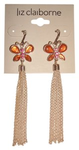 Liz Claiborne NEW Liz Claiborne Pink Rhinestone Butterfly Silver Fringe Drop Dangle Hook Earrings