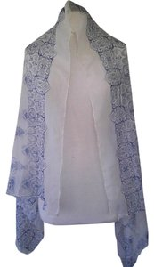Edward Cromarty Art Design Studio Natural White and Blue Porcelain Scarf/Shawl Chiffon/Voile