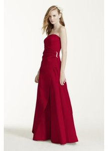 David's Bridal Apple Satin Gown With Side Drape & Brooch Dress - Apple (style #8567) Dress
