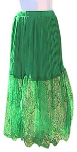 Other Chiffon Lace Maxi Skirt Green