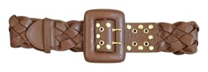 Be&D Gold Studded Brown Leather Belt