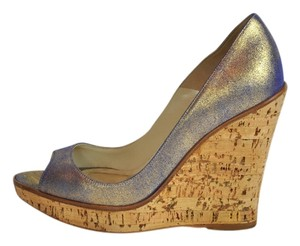 Brian Atwood Iridescent Leather Open Toe Gold Wedges