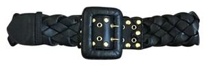 Be&D Black Leather Gold Studded Belt