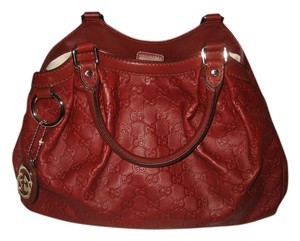 5416a9cf887b Gucci Sukey Sukey Sukey Red Guccissima Leather Leather Sukey Embossed  Leather Designer Tote in Mahogany
