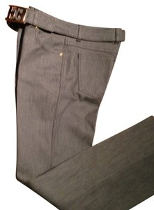 Escada 5 Pocket Designer Italian Straight Pants Gray
