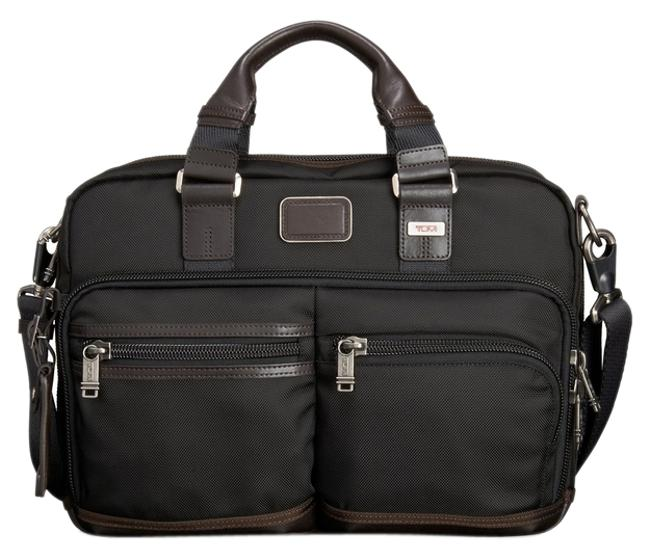 Item - Andersen Slim Commuter Brief Style No. 022640hkh Black/Brown Ballistic Nylon with Leather Trim Laptop Bag