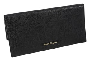 Salvatore Ferragamo *Salvatore Ferragamo Breas Long Pebbled Leather Black Bifold Wallet