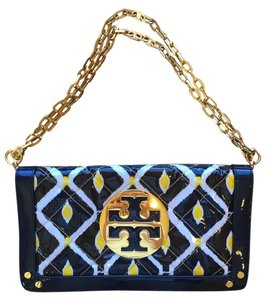 Tory Burch Reva Gold Navy/Gold/Yellow Clutch