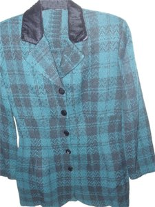 multiple lot Cute Green tartan gingham plaid womens business work suit fitted long tailored jacket velvet trim collar short skirt