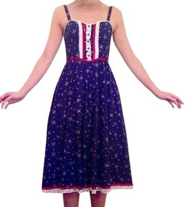 Gunne Sax short dress Navy blue floral on Tradesy