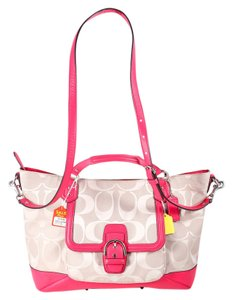 Coach Leather Canvas Satchel in Pink