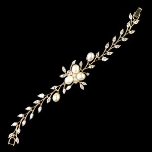 Elegance By Carbonneau Gold Plated Cz And Freshwater Pearl Wedding Bracelet