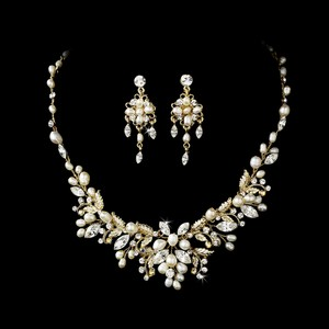Elegance By Carbonneau Gold Floral Fantasy Freshwater Pearl Jewelry Set
