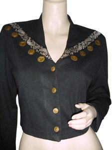 BYER Byer of California unique black short jacket w silver trim & gold coins, Bohemian style