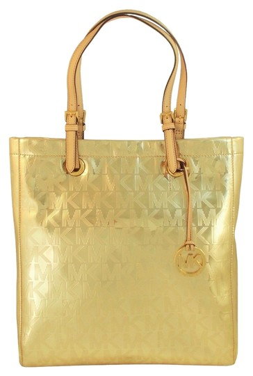 440865173411 Michael Kors Patent Leather Purse Metallic Beige Sateen Tote in Gold Image  0 ...