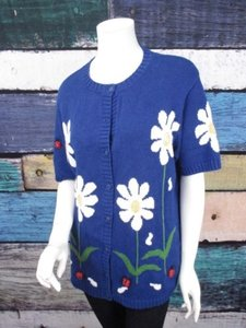 Quacker Factory Qvc Floral Lady Bug 3d Short Sleeve Cardigan Sweater