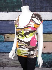 Trina Turk Anthropologie Brown Pink Camo Print Shirt Top Multi-Color