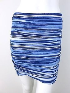 Free People People Marine Combo Striped Stretch Ruched Mini S Mini Skirt Blue