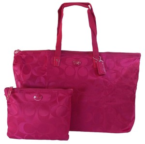 Coach Nylon Fuchsia Tote in Pink