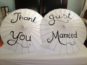White Set Of Two Paper Parasols: Thank You and Just Married Reception Decoration