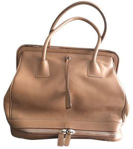 Prada Leather Expandable Satchel in Tan