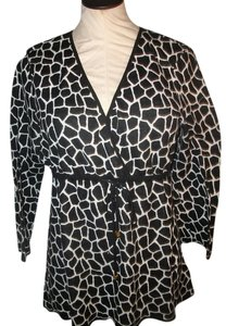 Michael Kors Animal Print Top Black and White