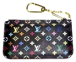 Louis Vuitton Mint Authentic Louis Vuitton Multicolore Monogram Noir Cles Coin Purse w/ Grenade Interior