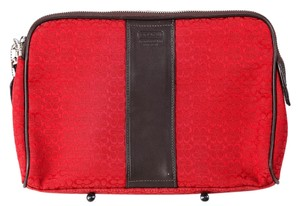 Coach * Coach Red Canvas Brown Leather Tablet Case