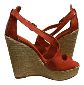 Burberry Orange Red Wedges