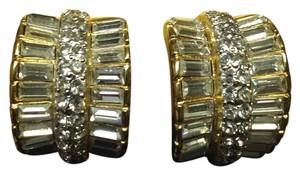 Replica Collection Replica Collection Gold Toned Clip-On Earrings Formal Rhinestone