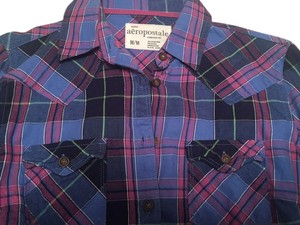 Aropostale Plaid Button Down Shirt Blue