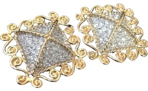 Nina Ricci Nina Ricci Gold Toned Square Earrings Rhinestone Scroll