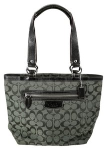 Coach Canvas/Leather Outer Zip Pocket Double Handle Tote in Forest Green