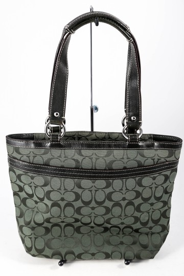 Coach Canvas/Leather Outer Zip Pocket Double Handle Tote in Forest Green Image 3