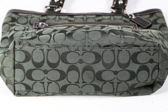 Coach Canvas/Leather Outer Zip Pocket Double Handle Tote in Forest Green Image 4
