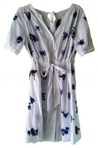 French Connection short dress White with multi blue and brown embroidery. on Tradesy