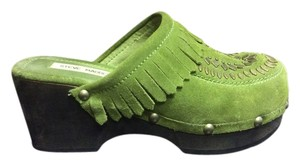 Steve Madden Leather Man Made Green Mules