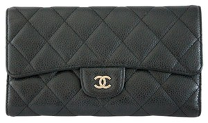 Chanel Chanel Black Caviar Long Flap Wallet SHW No. 12