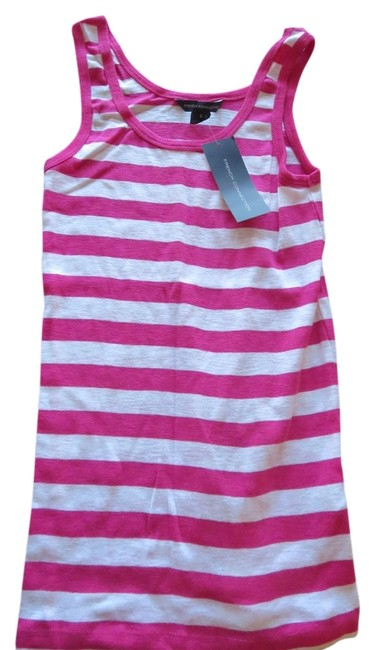French Connection Style 76rd1 Stretch Stripe Scott Top Vivacious Pink & White - 62% Off Retail chic