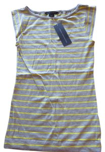 French Connection Stripe Tee Stretch T Shirt Grey/Yellow