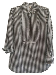 J.Crew Gingham Checkered Pleated Tunic Button Down Shirt Black/white
