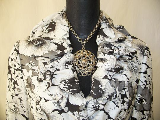 Adrianna Papell Nwt Black & White Floral Sz 10 Jacket free shipping