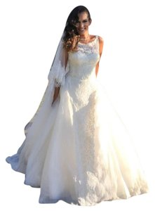 Peter Langner Ivory Silk Organza and Lace Winona Traditional Wedding Dress Size 10 (M)