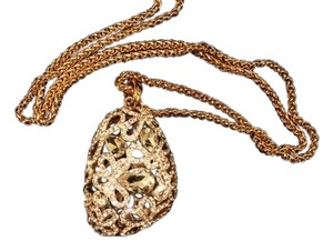Other Faux Diamond Encrusted Pendant with Gold Chain