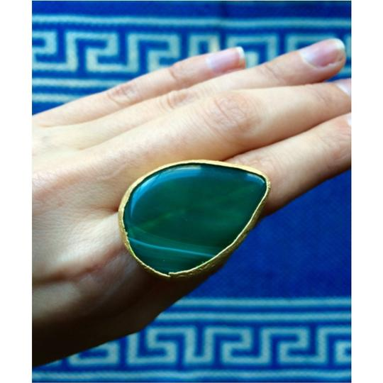 Other Statement Green Stone Adjustable Ring Image 4