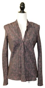 Étoile Isabel Marant Designer Button Down Shirt Brown + Pink Pattern